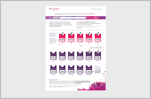 Image of Cosentyx digital patient leaflet